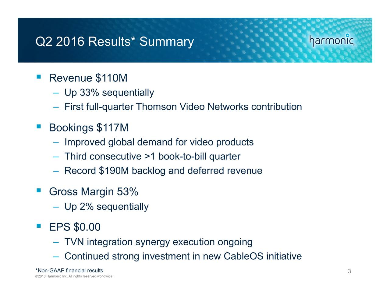 Revenue $110M Up 33% sequentially First full-quarter Thomson Video Networks contribution Bookings $117M Improved global demand for video products Third consecutive >1 book-to-bill quarter Record $190M backlog and deferred revenue Gross Margin 53% Up 2% sequentially EPS $0.00 TVN integration synergy execution ongoing Continued strong investment in new CableOS initiative *Non-GAAP financial results 3 2016 Harmonic Inc. All rights reserved worldwide.