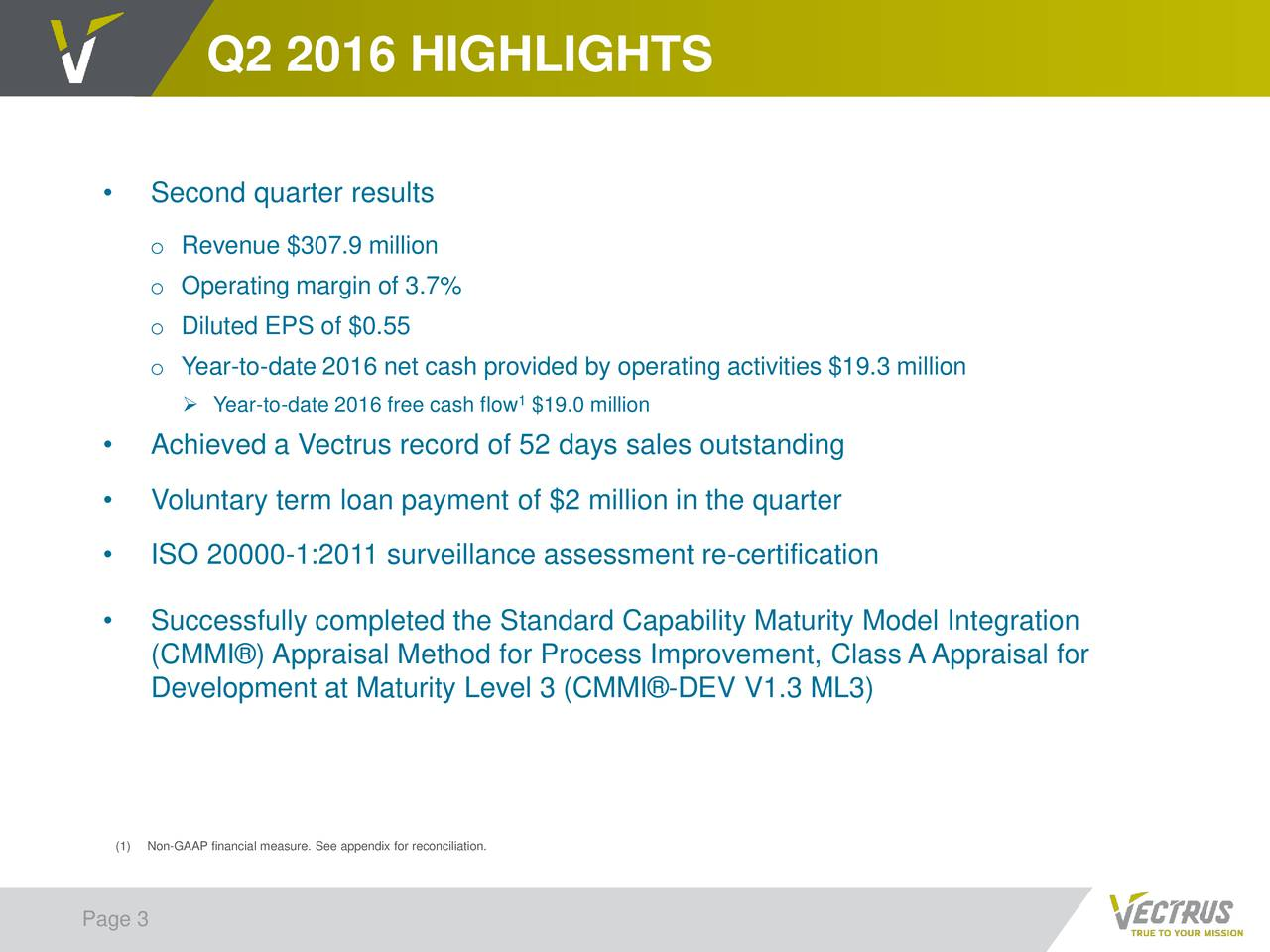 Second quarter results o Revenue $307.9 million o Operating margin of 3.7% o Diluted EPS of $0.55 o Year-to-date 2016 net cash provided by operating activities $19.3 million Year-to-date 2016 free cash flow $19.0 million Achieved a Vectrus record of 52 days sales outstanding Voluntary term loan payment of $2 million in the quarter ISO 20000-1:2011 surveillance assessment re-certification Successfully completed the Standard Capability Maturity Model Integration (CMMI) Appraisal Method for Process Improvement, Class AAppraisal for Development at Maturity Level 3 (CMMI-DEV V1.3 ML3) (1)Non-GAAP financial measure. See appendix for reconciliation. Page 3