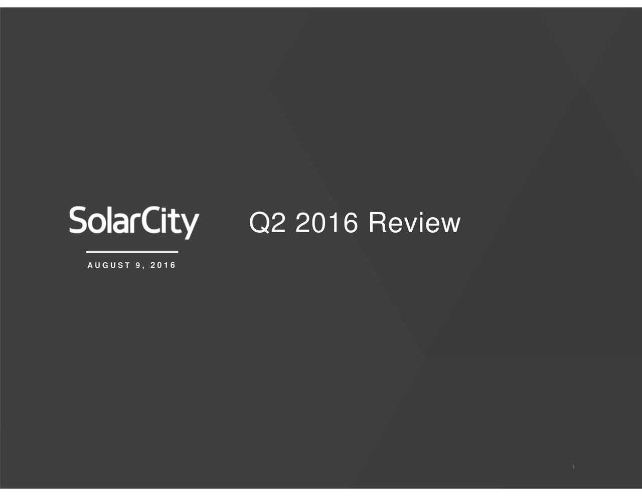 Q2 2016 Review 2016 AUGUST 9,