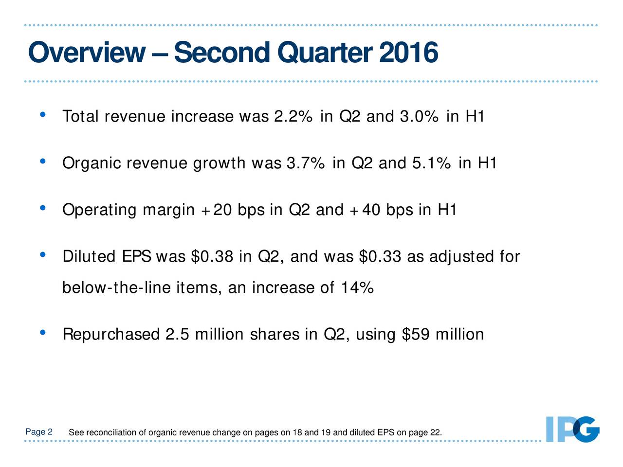 Total revenue increase was 2.2% in Q2 and 3.0% in H1 Organic revenue growth was 3.7% in Q2 and 5.1% in H1 Operating margin +20 bps in Q2 and +40 bps in H1 Diluted EPS was $0.38 in Q2, and was $0.33 as adjusted for below-the-line items, an increase of 14% Repurchased 2.5 million shares in Q2, using $59 million Page See reconciliation of organic revenue change onpages on 18 and 19 and diluted EPS on page 22.