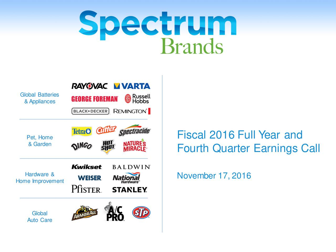 &Appliances Pet, Home Fiscal 2016 Full Y ear and & Garden Fourth Quarter Earnings Call Hardware & November 17, 2016 Home Improvement Global Auto Care