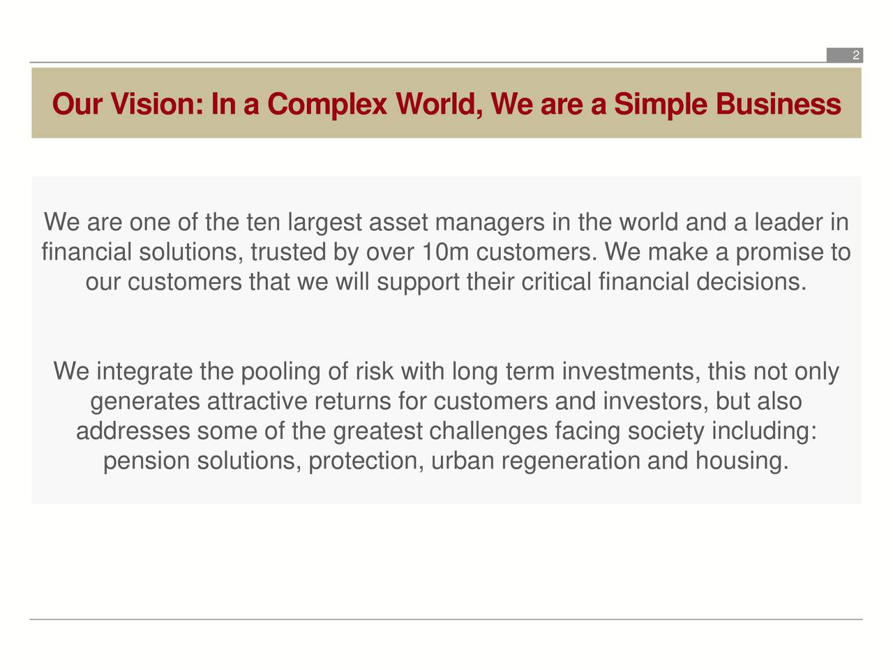 Our Vision: In a Complex World, We are a Simple Business We are one of the ten largest asset managers in the world and a leader in financial solutions, trusted by over 10m customers. We make a promise to our customers that we will support their critical financial decisions. We integrate the pooling of risk with long term investments, this not only generates attractive returns for customers and investors, but also addresses some of the greatest challenges facing society including: pension solutions, protection, urban regeneration and housing.