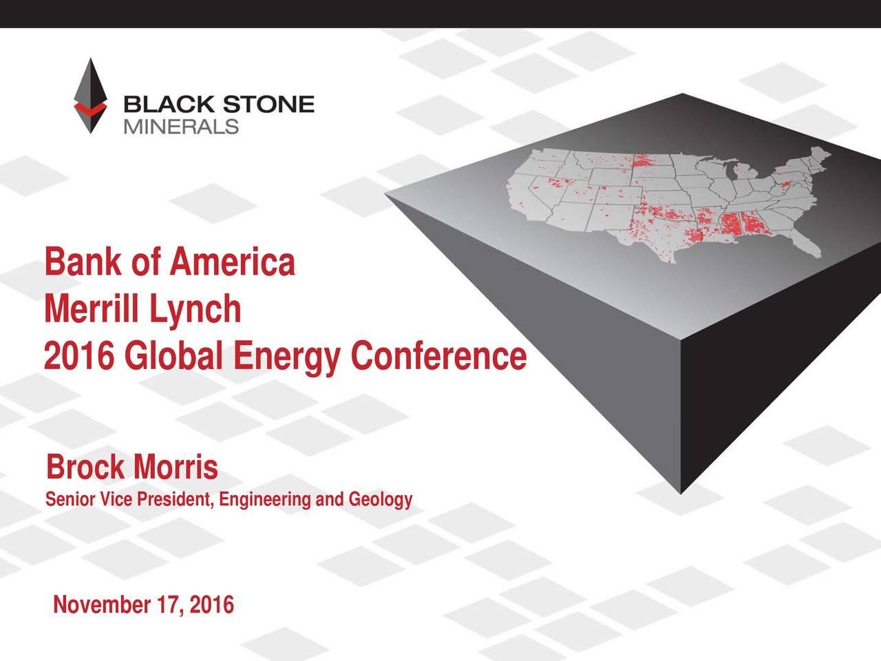 Merrill Lynch 2016 Global Energy Conference Brock Morris Senior Vice President, Engineering and Geology November 17, 2016