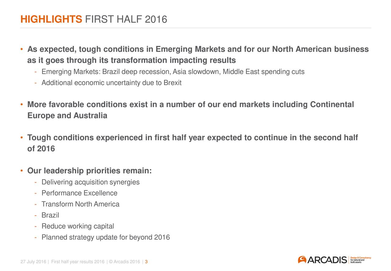 As expected, tough conditions in Emerging Markets and for our North American business as it goes through its transformation impacting results - Emerging Markets: Brazil deep recession,Asia slowdown, Middle East spending cuts - Additional economic uncertainty due to Brexit More favorable conditions exist in a number of our end markets including Continental Europe and Australia Tough conditions experienced in first half year expected to continue in the second half of 2016 Our leadership priorities remain: - Delivering acquisition synergies - Performance Excellence - Transform North America - Brazil - Reduce working capital - Planned strategy update for beyond 2016 27 July 2016 | First half year results 2016 |  Arcadis 2016 | 3