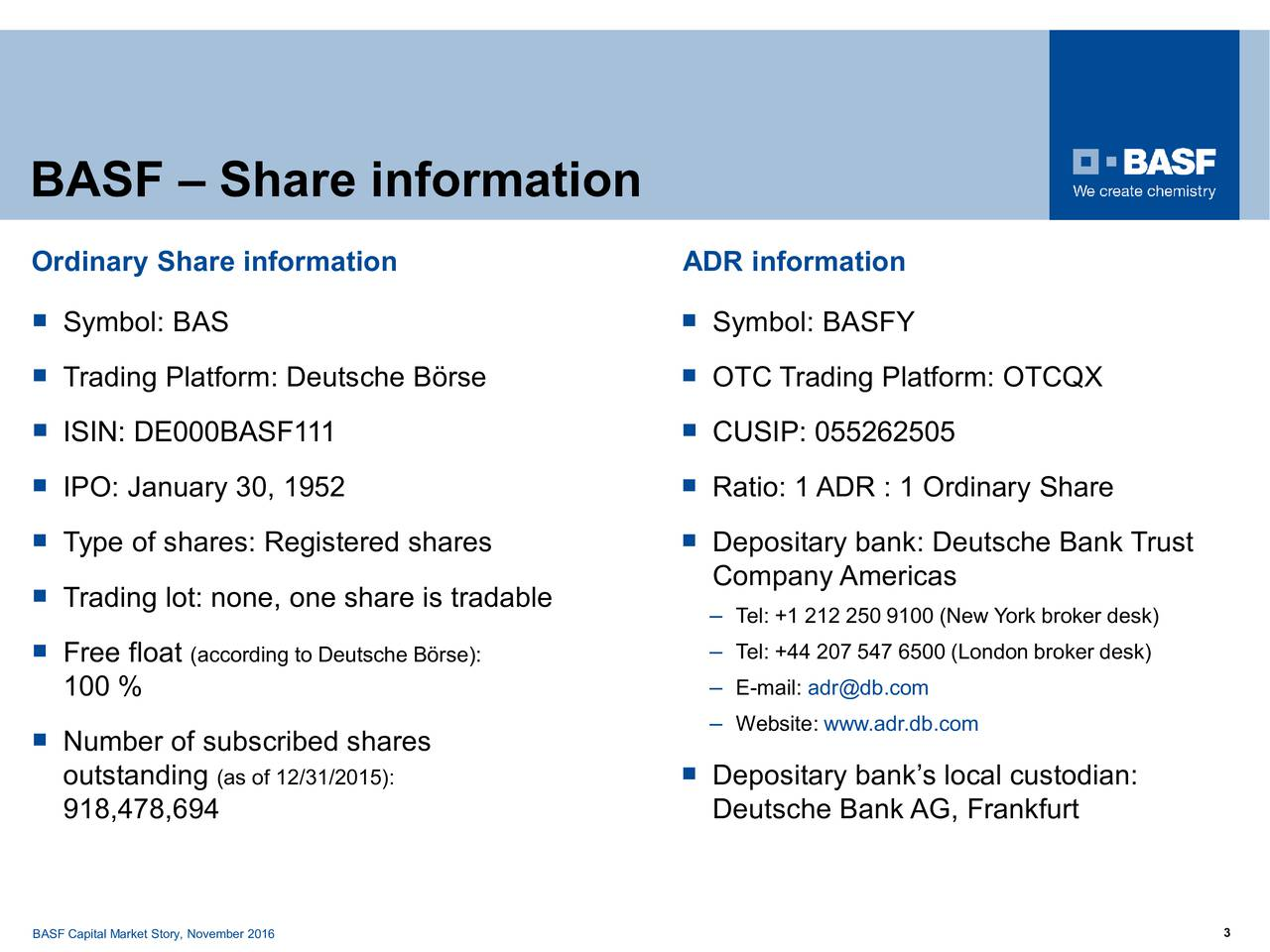 BASF  Share information Ordinary Share information ADR information Symbol: BAS  Symbol: BASFY Trading Platform: Deutsche Brse  OTC Trading Platform: OTCQX ISIN: DE000BASF111  CUSIP: 055262505 IPO: January 30, 1952  Ratio: 1 ADR : 1 Ordinary Share Type of shares: Registered shares  Depositary bank: Deutsche Bank Trust Company Americas Trading lot: none, one share is tradable Tel: +1 212 250 9100 (New York broker desk) Free float(according to Deutsche Brse):  Tel: +44 207 547 6500 (London broker desk) 100 %  E-mail: adr@db.com Number of subscribed shares  Website: www.adr.db.com outstanding (as of 12/31/2015):  Depositary banks local custodian: 918,478,694 Deutsche Bank AG, Frankfurt BASF Capital Market Story, November 2016 3