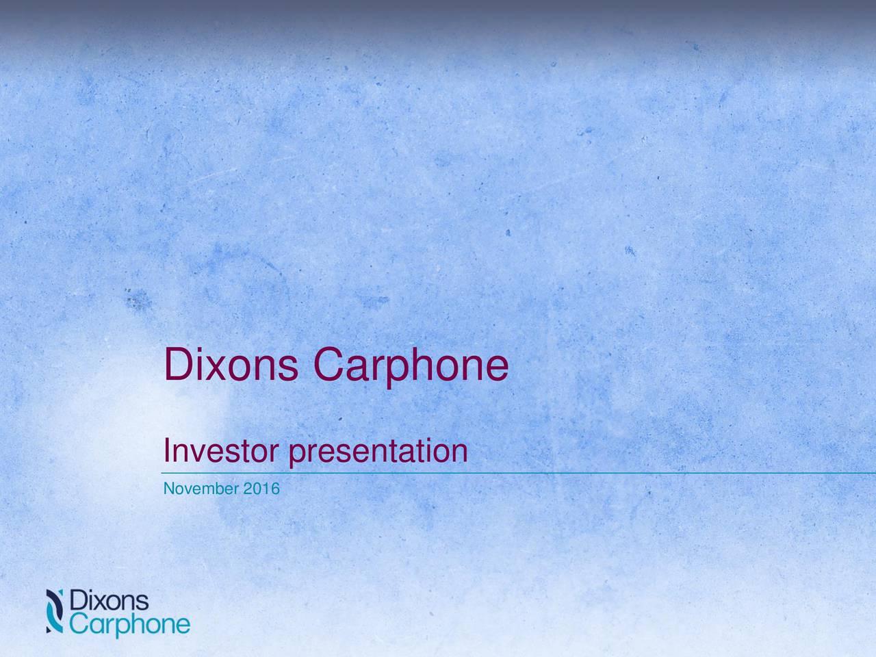 Investor presentation November 2016