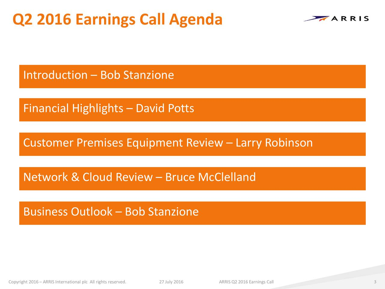 Introduction  Bob Stanzione Financial Highlights  David Potts Customer Premises Equipment Review  Larry Robinson Network & Cloud Review  Bruce McClelland Business Outlook  Bob Stanzione Copyright 2016  ARRIS International27 July 2016htsARRIS Q2 2016Earnings Call 3