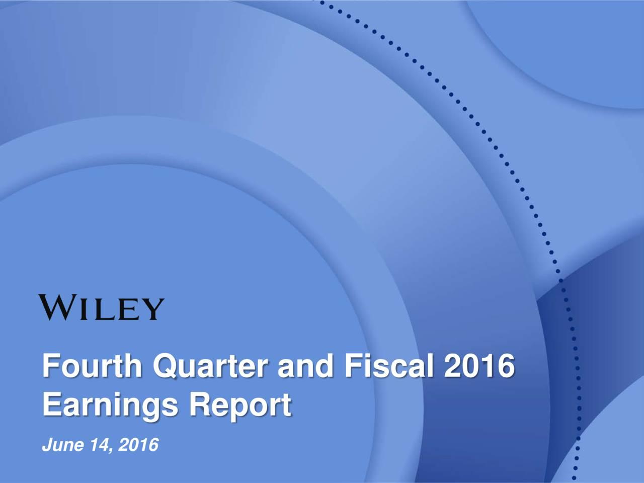 Earnings Report June 14, 2016