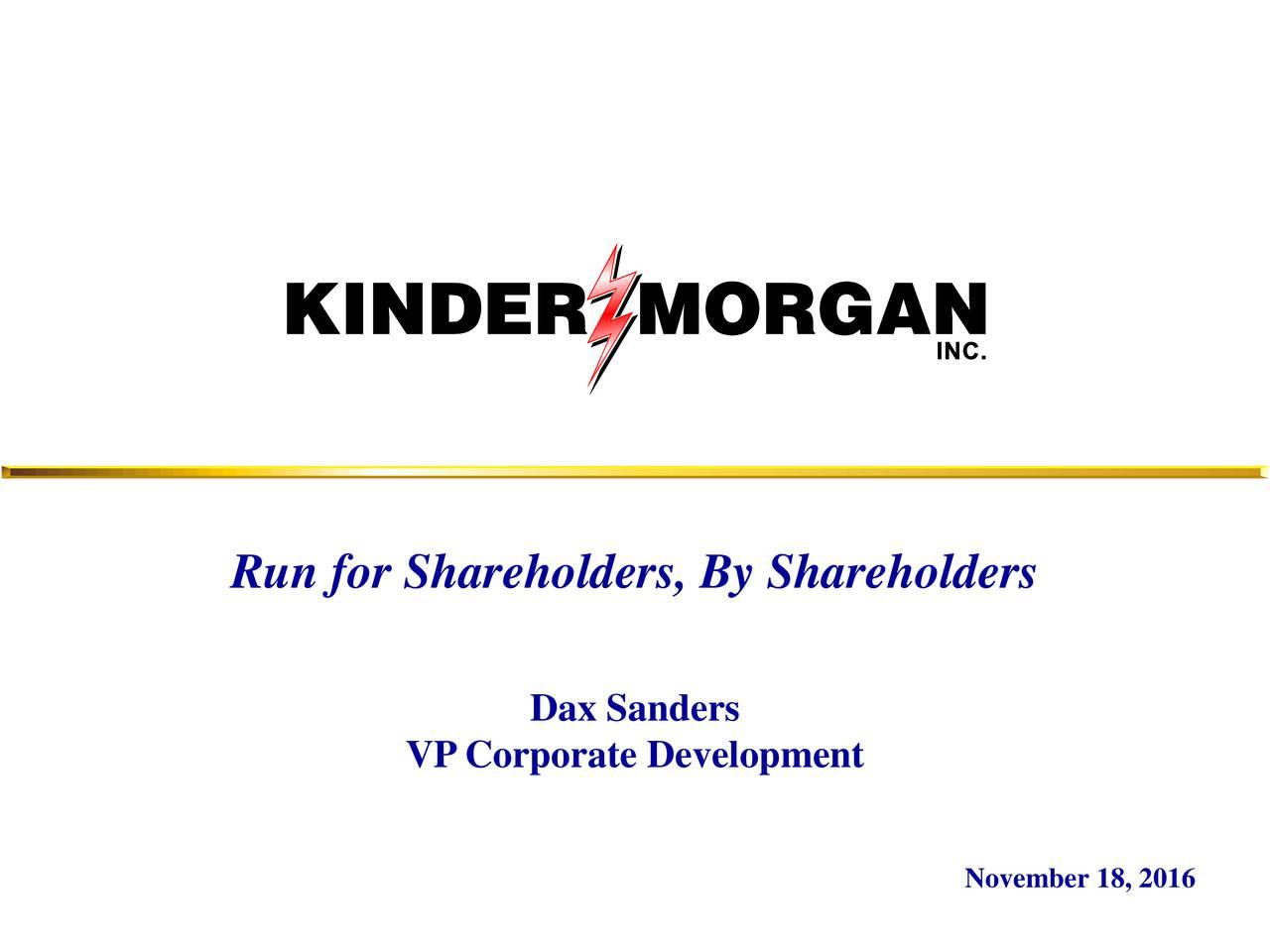 Dax Sanders VP Corporate Development November 18, 2016