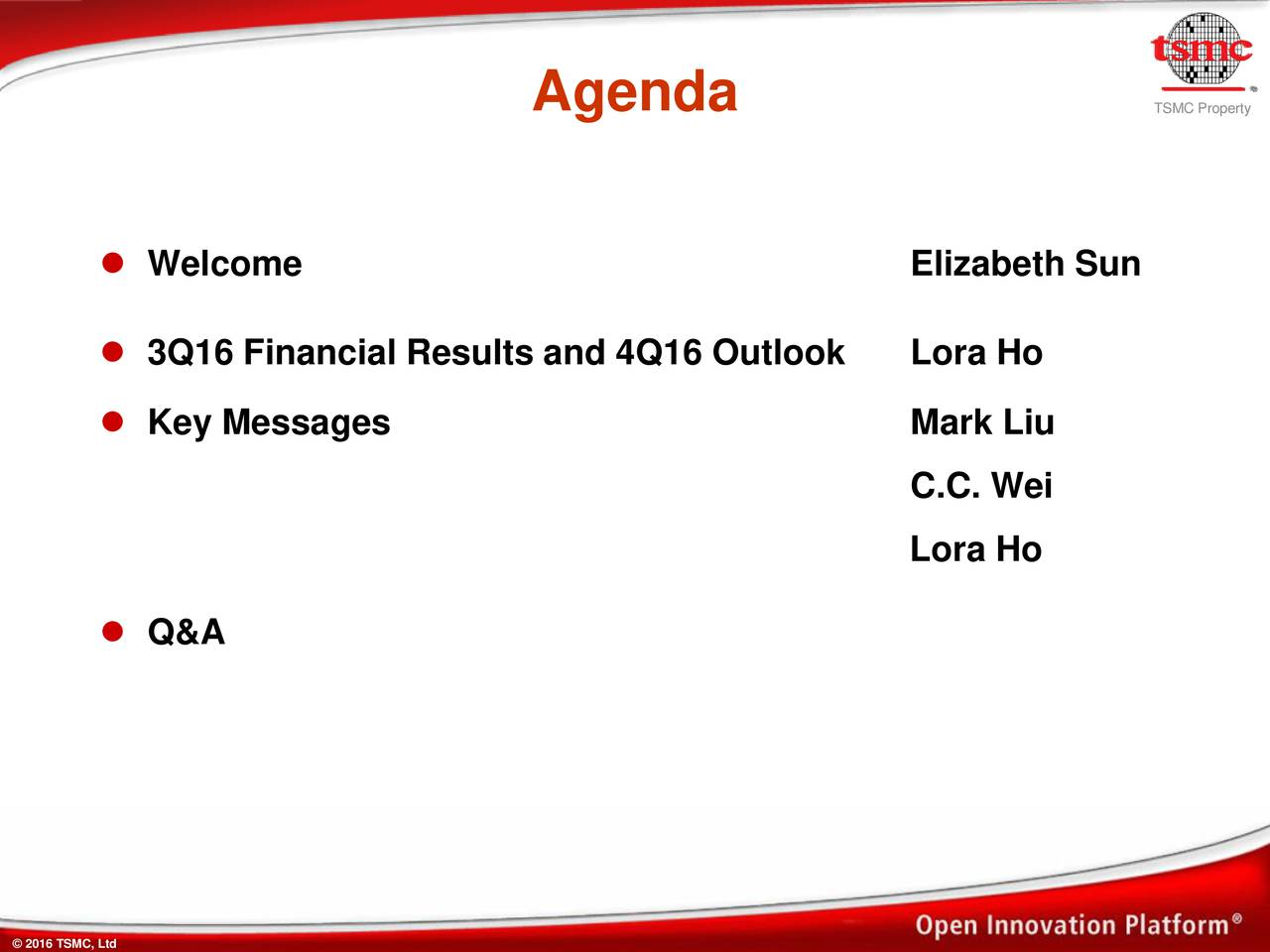SMCPpeyrtty Welcome Elizabeth Sun 3Q16 Financial Results and 4Q16 Outlook Lora Ho Key Messages Mark Liu C.C. Wei Lora Ho Q&A