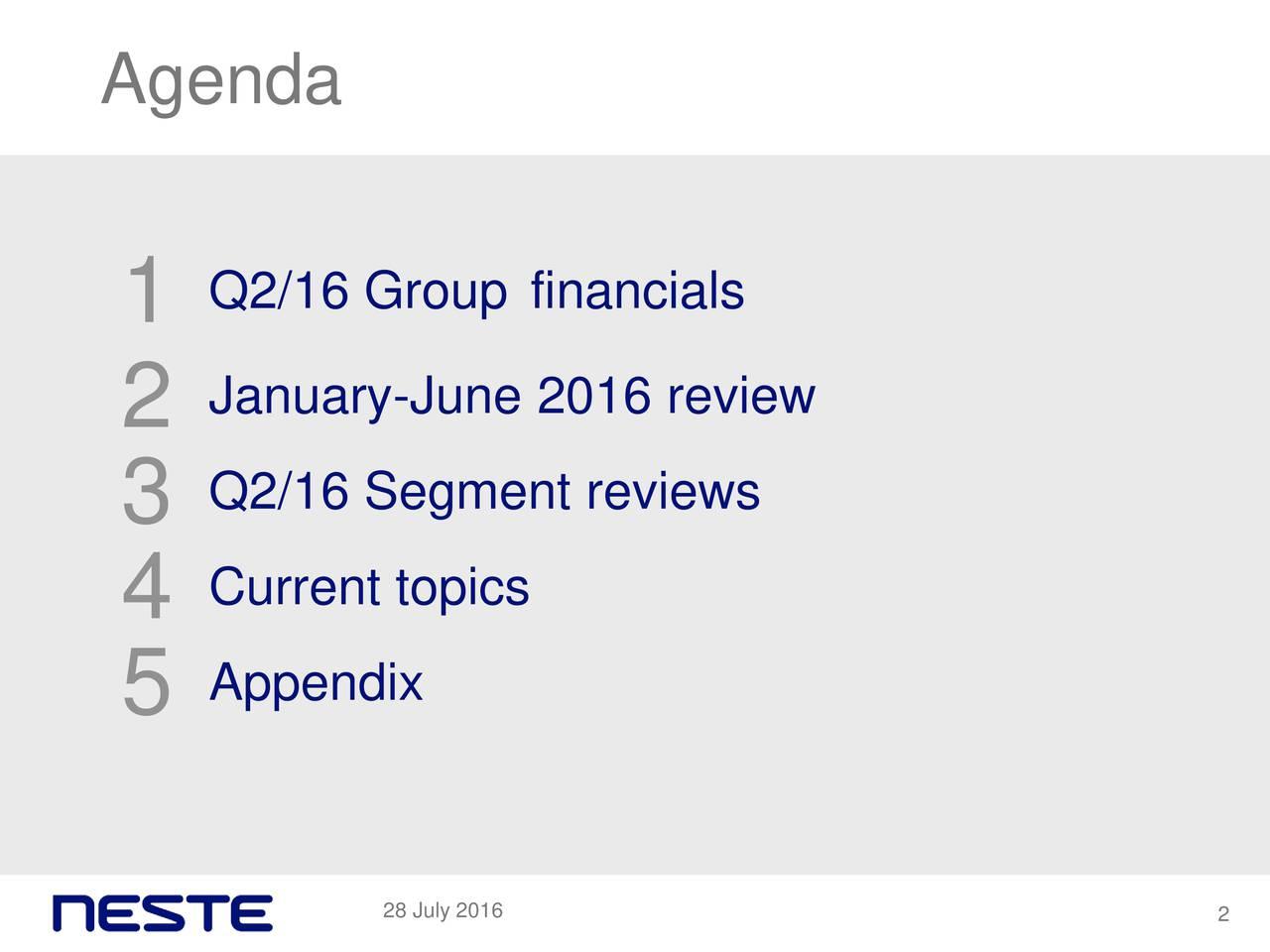 1 Q2/16 Group financials 2 January-June 2016 review 3 Q2/16 Segment reviews 4 Current topics 5 Appendix 28 July 2016