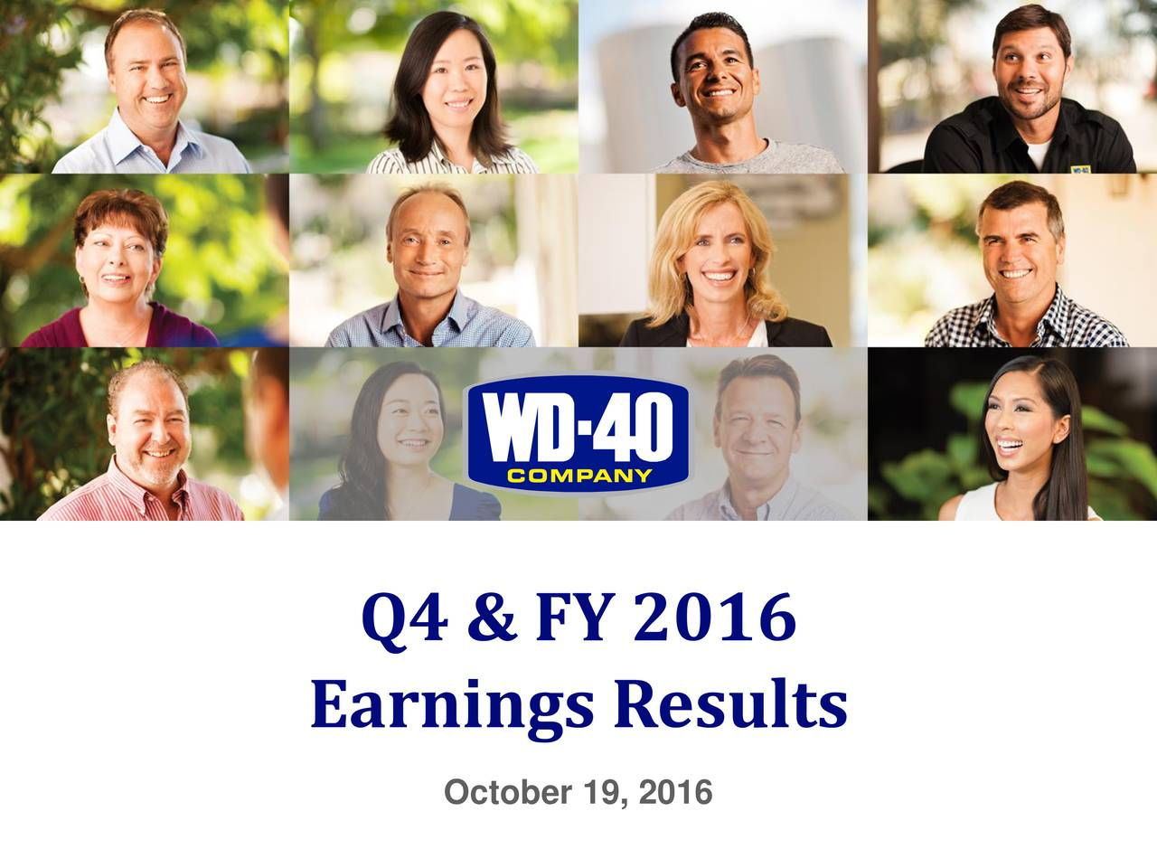 Earnings Results October 19, 2016