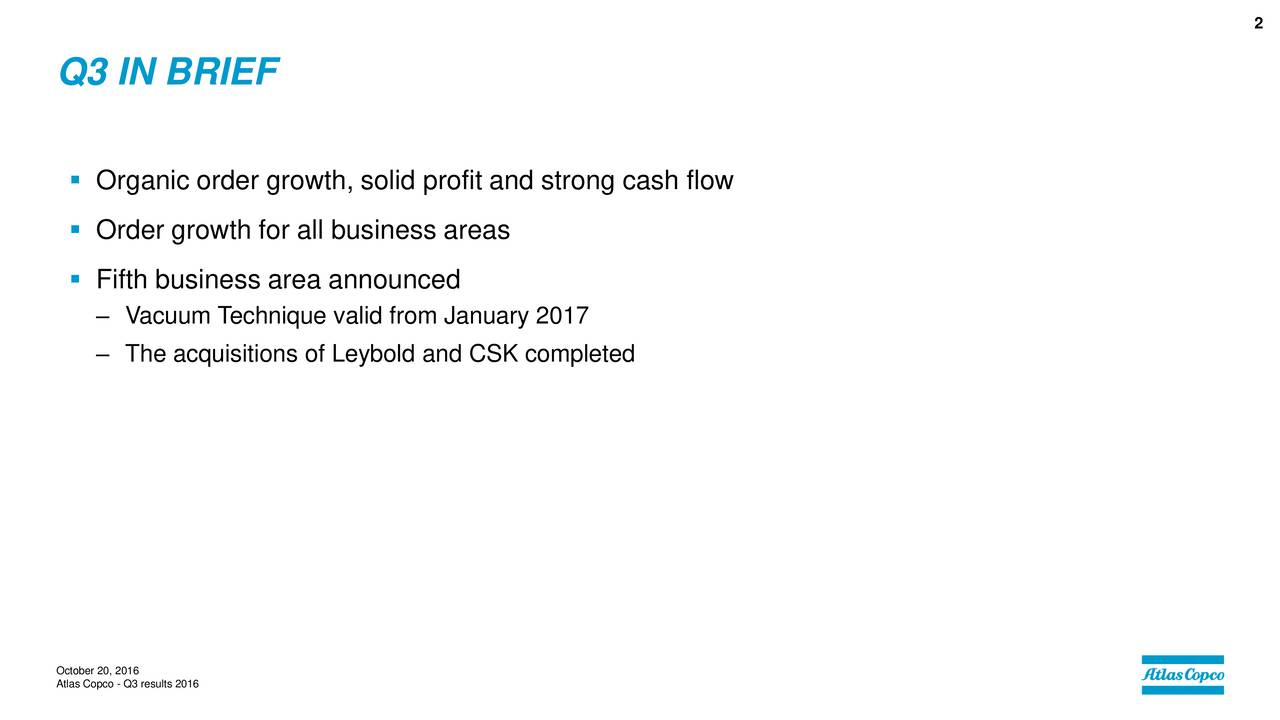 Q3 IN BRIEF Organic order growth, solid profit and strong cash flow Order growth for all business areas Fifth business area announced Vacuum Technique valid from January 2017 The acquisitions of Leybold and CSK completed October 20, 2016 Atlas Copco - Q3 results 2016