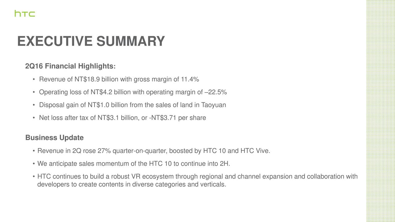 2Q16 Financial Highlights : Revenue of NT$18.9 billion with gross margin of 11.4% Operating loss of NT$4.2 billion with operating margin of 22.5% Disposal gain of NT$1.0 billion from the sales ofaoyuanin T Net loss after tax of NT$3.1 billion, or -NT$3.71 per share Business Update Revenue in 2Q rose 27% quarter-on-quarter, boosted by HTC 10 and HTC Vive. We anticipate sales momentum of the HTC 10 to continue into 2H. HTC continues to build a robust VR ecosystem through regional and channel expansion and collaboration with developers to create contents in diverse categories and verticals.