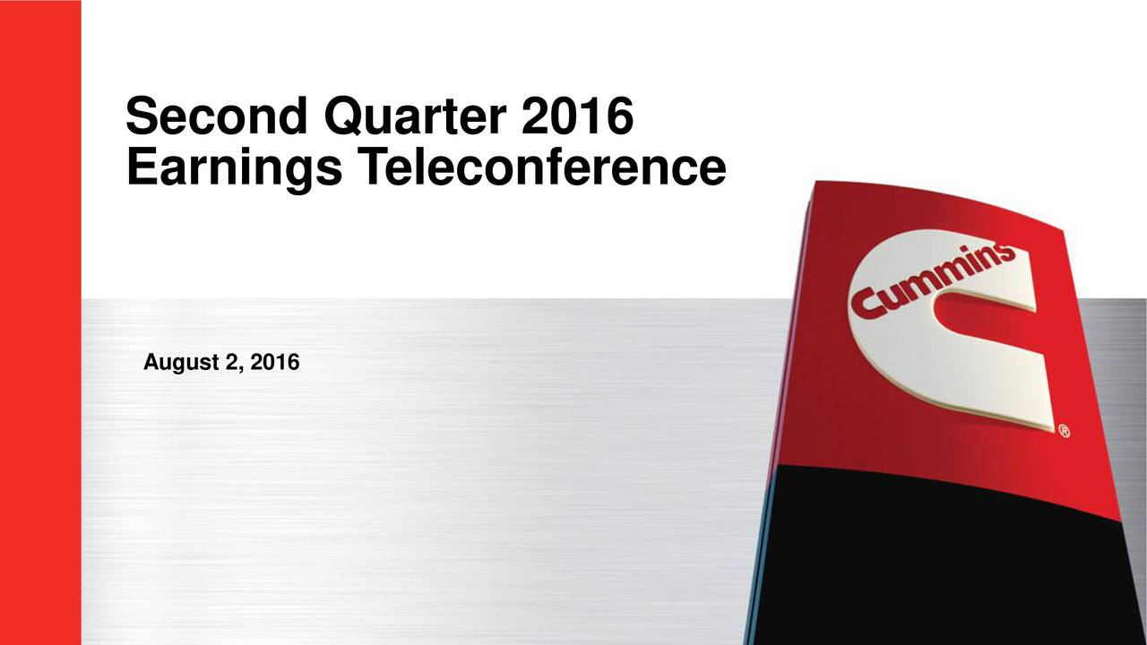 Earnings Teleconference August 2, 2016 1