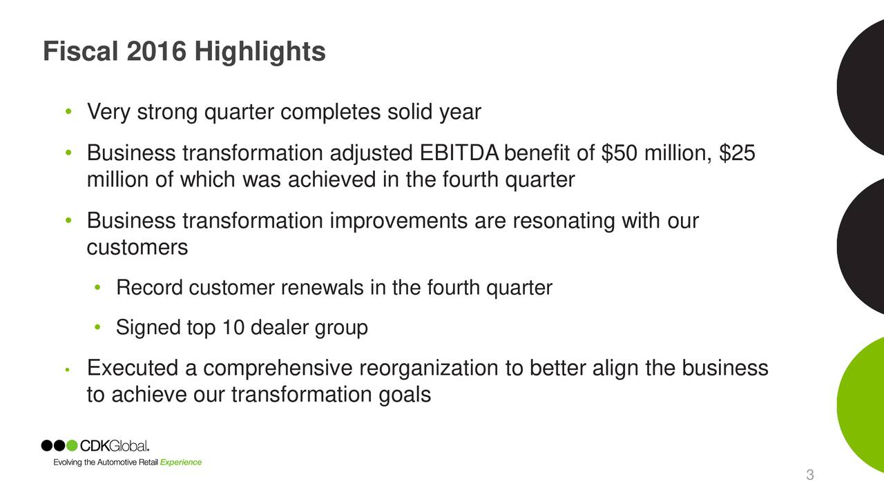 Very strong quarter completes solid year Business transformation adjusted EBITDA benefit of $50 million, $25 million of which was achieved in the fourth quarter Business transformation improvements are resonating with our customers Record customer renewals in the fourth quarter Signed top 10 dealer group Executed a comprehensive reorganization to better align the business to achieve our transformation goals 3